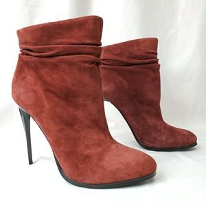 ALDO Wine Colored Slouchy Suede Stiletto Booties